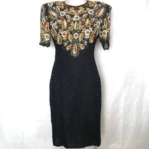 STUNNING Beaded Sequined Silk Party Dress